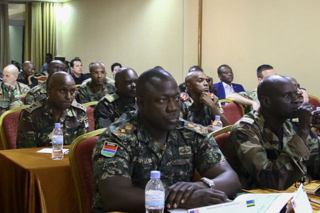Members of African partner nations and U.S. Service members work together this week at the Initial Planning Event for Shared Accord 2019, February 12, 2019 in Kigali, Rawanda. Shared Accord is a joint, combined exercise designed to improve the interoperability and capabilities of the participating military, police, inter-governmental and non-governmental organizations to respond to UN and African Union-mandated peacekeeping operations.