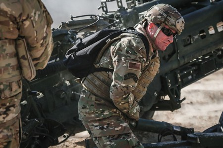 U.S. Central Command's senior enlisted advisor, Command Sgt. Maj. William Thetford, pulls the lanyard on an M777A2 during a fire mission at Fire Base Saham, Jan. 18, 2019. Command Sgt. Maj. Thetford visited f 101st Airborne Division Troopers who are deployed in support of Combined Joint Task Force - Operation Inherent Resolve, working with partner forces to defeat ISIS in designated areas of Iraq and Syria.