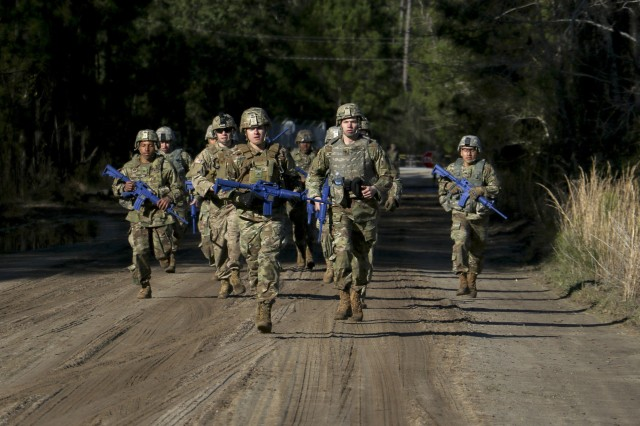Competitors for the Georgia Army National Guard Best Warrior Competition competed in three-mile equipment run at Fort Stewart, Georgia on March 5, 2019. The Georgia Army National Guard Best Warrior Competition is an annual six-day event that tests a Soldier's physical strength and academic knowledge.