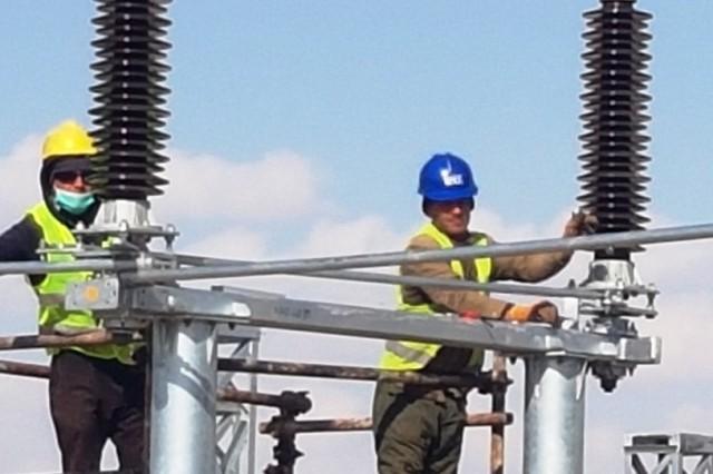 Switchyard equipment installation.