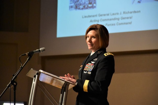 Lt. Gen. Laura Richardson, acting commanding general, U.S. Army Forces Command, gives the keynote address during the 2019 Women's Achievement Panel at Southern Nazarene University in Oklahoma City, Okla., March 8. About 250 young women from local middle and high schools attended the event, which was hosted by the U.S. Army OKC West Recruiting Company.