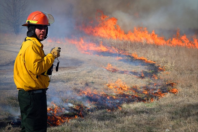 Natural Resource Specialist Jeremiah Holland with the U.S. Army Corps of Engineers, Tulsa District makes situation assessments during a prescribed burn training class March 4-8, 2019, at Ft. Gibson Lake near Okay, Okla. The training class is an annual event in its 11th year and teaches natural resource specialists and lake maintenance staff how to properly and safely conduct a burn.