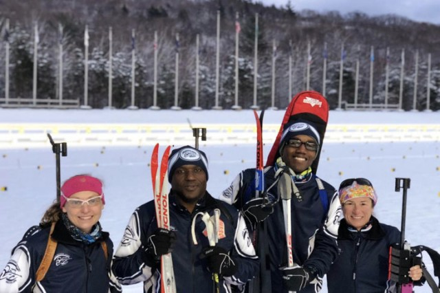 Michigan National Guard Maj. Jennifer McLean-Ellis, U.S. Virgin Islands National Guard Chief Warrant Officer 4 Mervyn Mills, U.S. Virgin Islands National Guard Capt. Marcus Sydney, and Alaska National Guard Lt. Col. Ruth Cresenzo participated in the Eastern and Central Regional Championships from January 23-27, 2018, at Camp Ethan Allen, Jericho, Vermont. This was the first time the Guardsmen from the Virgin Islands had been on skis.