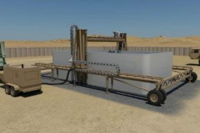 The three-year Automated Construction of Expeditionary Structures (ACES) program brings together expertise from within ERDC, NASA, Caterpillar, and Contour Crafting Corporation to conduct highly-focused research designed to prototype an automated construction system that can fabricate a 500 ft.2 structure in less than 24 hours.