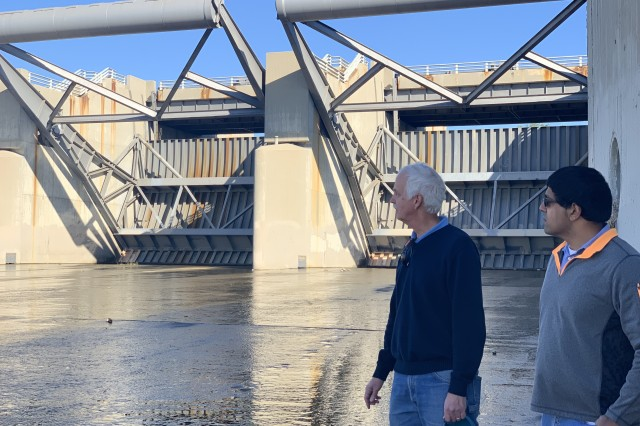 U.S. Army Corps of Engineers Los Angeles District Whittier Narrows Dam Lead Project Engineer Doug Chitwood and Whittier Narrows Dam Project Manager George Sunny conduct a site visit and inspect spillway gates at Whittier Narrows Dam in Pico Rivera, California on Jan. 7.