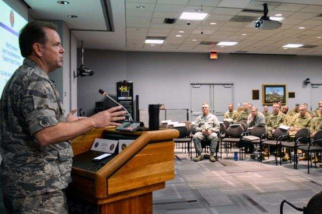 Air Force Brig. Gen. Steven Chisolm, a chaplain, and director of the Office of the Joint Chaplain at the National Guard Bureau addresses chaplains and chaplain's assistants from throughout the National Guard during a conference at the Herbert R. Temple Jr. Army National Guard Readiness Center Arlington Hall Station in Arlington, Virginia. During the 2018 conference, chaplains focused on ways to build greater resiliency in Guard members, suicide prevention measures and ways chaplains can build support among each other.