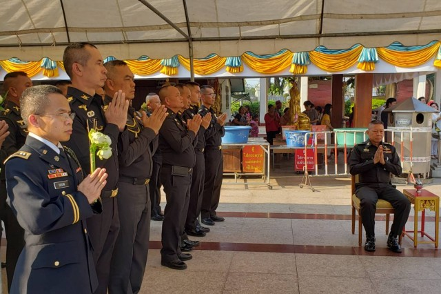 Chaplain (Capt.) Niphon Sukuan (front) takes part in a Buddhist service during February 2019, in Thailand. Sukuan is the fourth Buddhist chaplain to be sworn into the Army and visited Thailand during Exercise Cobra Gold to support the Soldiers of 5th Battalion, 20th Infantry Regiment, and promote Thai cultural awareness through events such as Makha Pucha Day and Dhamma Day.