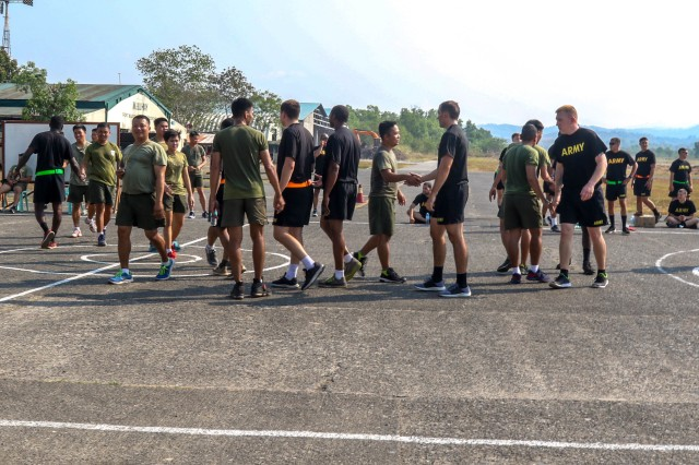 Philippine and U.S. Army Soldiers shake hands after playing a game of basketball together as part of Exercise Salaknib 19 at Fort Magsaysay, Philippines, March 11, 2019. Salaknib is an annual exercise designed to contribute to and enhance U.S. and Philippines defense readiness and tactical interoperability while strengthening multinational relationships.