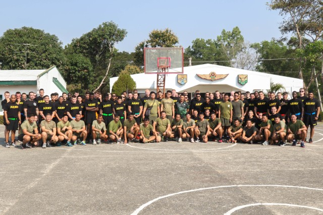 Soldiers from the Armed Forces of the Philippines and the U.S. Army take a break from playing basketball during a sports day as part of Exercise Salaknib 19 at Fort Magsaysay, Philippines, March 11, 2019. Salaknib is an annual exercise designed to contribute to and enhance U.S. and Philippines defense readiness and tactical interoperability while strengthening multinational relationships.