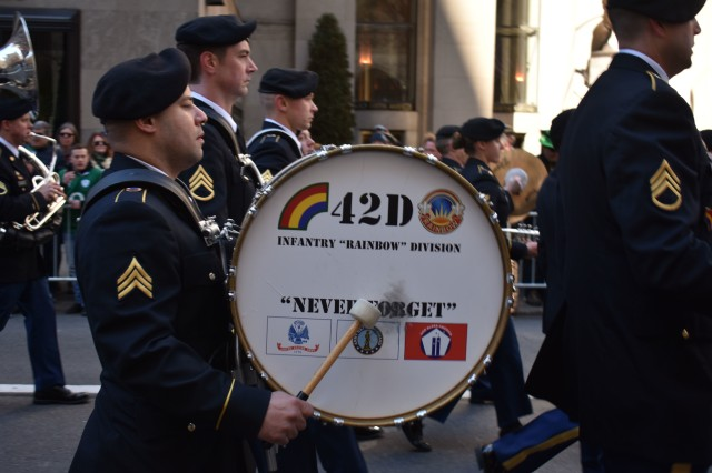 New York Army National Guard Soldiers from 42nd Infantry Division Band, march in the 257th St. Patrick's Day Parade in New York City, N.Y., March 17, 2018. The Band marched with 1st Battalion, 69th Infantry Regiment in the 257th St. Patrick's day parade, as they were created as a regiment of Irish immigrants.