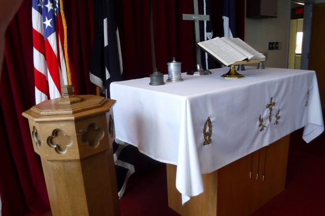 The religious items, such as the Pyx—which holds the holy oil—the crucifix, the alter bible, the baptismal font and the other items will all be used by other chapels on Fort Knox.