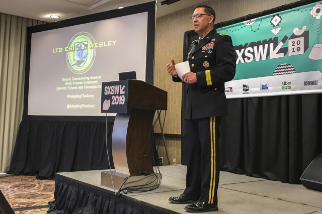 U.S. Army Lt. Gen. Eric Wesley, Deputy Commanding General Army Futures Command talks during a panel at South by Southwest on March 8, 2019 at the Hiliton in Austin, Texas.