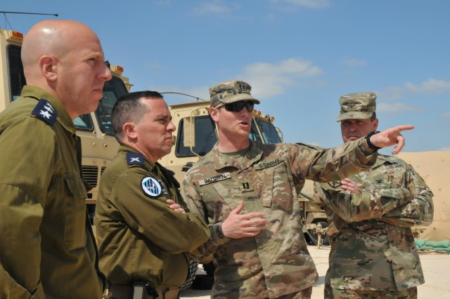 Brig. Gen. Ran Kochav, Israeli Air Force Air Defense Division commander, meets with U.S. soldiers Mar. 11, 2019 during a visit at a Terminal High Altitude Area Defense site in Israel. During his visit, Kochav toured the site and met with senior leaders.