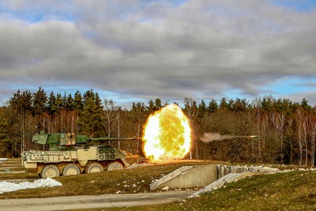 A U.S. Army mobile gun system Stryker fires upon several targets during a week-long gunnery range at Grafenwoehr Training Area, Germany, Feb. 14, 2019.
