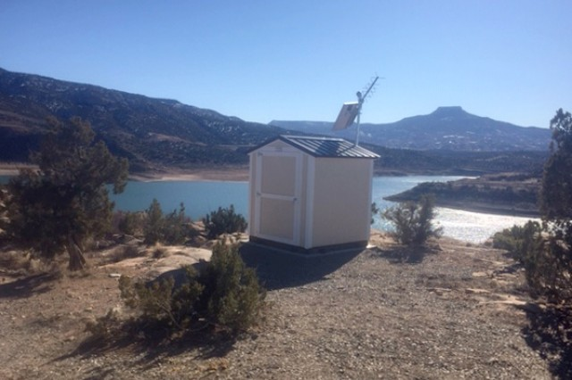 "The new lake elevation measuring equipment is housed in this new ""bubbler shed"" at Abiquiu Lake."