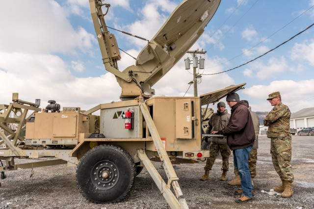 Four technicians from Tobyhanna Army Depot worked with the Pennsylvania National Guard to assess, troubleshoot and repair 14 Satellite Transportable Terminals required for upcoming deployments.