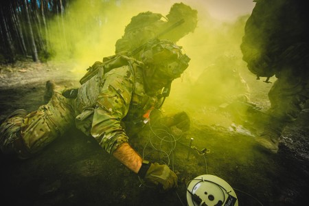 Paratroopers with the 173rd Airborne Brigade, participate in Exercise Rock Spring 19 at Grafenwoher Training Area, Germany, March 6, 2019. Rock Spring is an annual exercise to validate platoon-level proficiency at conducting offensive operations unde...
