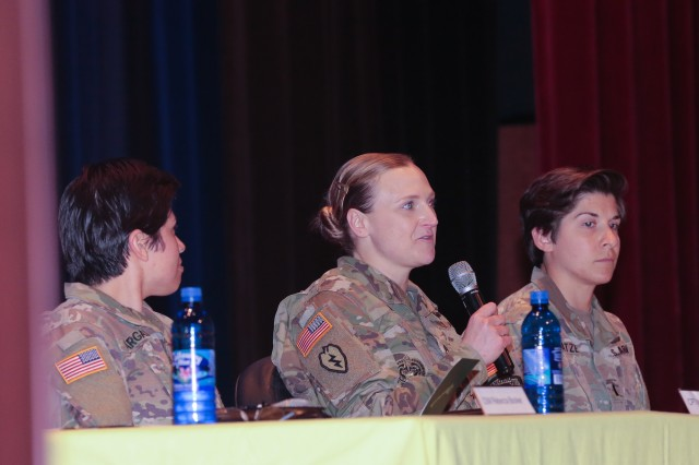 Sgt. 1st Class Christine Reel, a U.S. Army Infantry School drill sergeant, talks during a panel discussion. The 199th Infantry Brigade and the Maneuver Center of Excellence hosted a panel discussion on the changing role of women in the military March 15 in Marshall Auditorium at the MCoE Headquarters building.