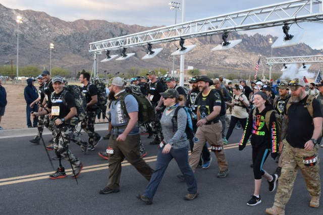 Marchers get underway at the 2018 Bataan Memorial Death March at White Sands Missile Range, N.M. The 2019 event gets underway on March 17, 2019.
