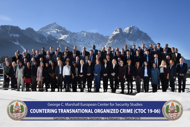 GARMISCH-PARTENKIRCHEN, Germany (March 7, 2019) -- Seventy-one participants from 42 nations graduate from the Countering Transnational Organized Crime program at the George C. Marshall European Center for Security Studies March 1. (DOD photo by Karl-Heinz Wedhorn/RELEASED)