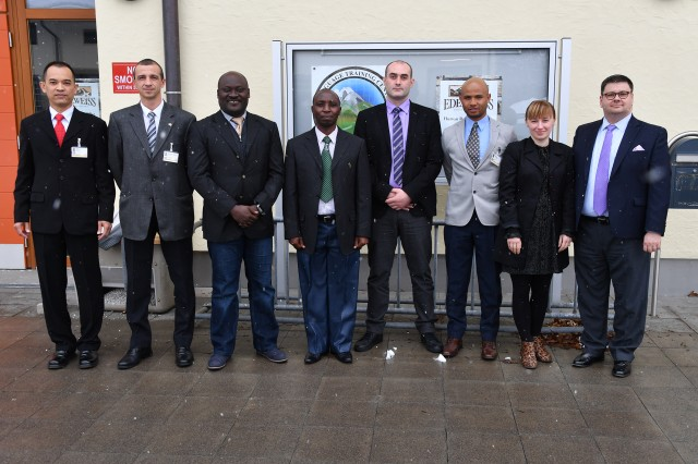 GARMISCH-PARTENKIRCHEN, Germany (March 12, 2019) -- Seven security professionals from that many countries graduated from the custom-made, five-week English Language Enhancement Course at the George C. Marshall European Center for Security Studies March 12. Daily photos from this course and PTSS 19-07 will be on the Marshall Center Photo Gallery. (DOD photo by Karl-Heinz Wedhorn/RELEASED)