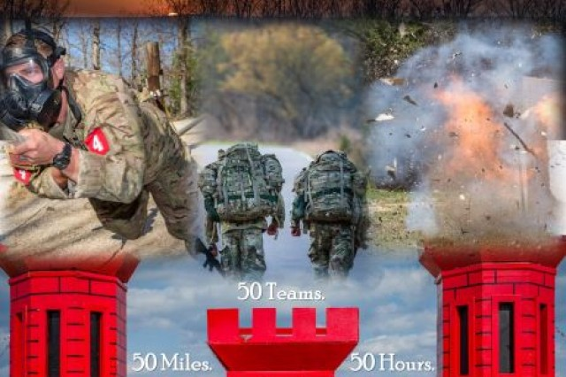 The 2019 Lt. Gen. Robert B. Flowers Best Sapper Competition is planned for April 8-10, 2019 at Fort Leonard Wood, Missouri. The demanding competition takes 50 of the Army's elite Sapper teams, across 50 miles of terrain, in 50 hours, while teams complete engineer tasks. (Graphic by Sgt. 1st. Class Timothy Jacobs, Sapper Training Company Operations chief.)
