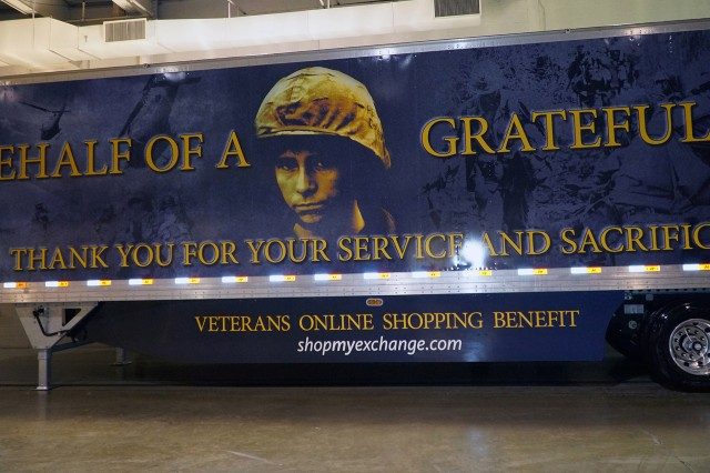 The Army & Air Force Exchange Service is honoring Vietnam veterans with a 53-foot rolling billboard. For the second year in a row, the Exchange created a custom truck design that appears on three of the Department of Defense retailer's tractor-trailers that deliver merchandise across the United States.
