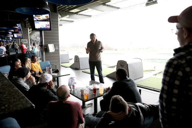 "Chaplain Capt. Daniel Isfan with Headquarters and Headquarters Battalion, 101st Airborne Division (Air Assault) walks Soldiers through the ""7 Habits of Highly Effective People"" by Stephen Covey during the Strong Bonds single Soldiers retreat at Topgolf Nashville March 8, 2019. The training sessions aim to not only help Soldiers in their careers but also empower them for wherever life may take them. (U.S. Army photo by Spc. Jeremy Lewis) (This photo had levels adjusted to enhance the subject)"