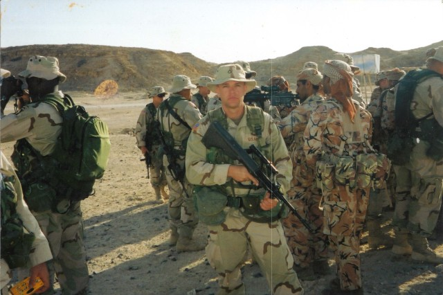 Spc. Travis Atkins, possibly in Oman during 2002 or 2003.