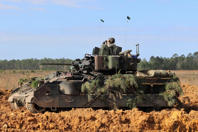 Soldiers from the 2nd Battalion, 7th Infantry Regiment, 1st Armored Brigade Combat Team in their Bradley Fighting Vehicle during Marne Focus at Fort Stewart, Ga. Marne Focus is the culminating home station training event designed to validate the mission readiness of the 2nd Brigade Combat Team, 3rd Infantry Division as they prepare for their upcoming rotation to the National Training Center at Fort Irwin, CA.