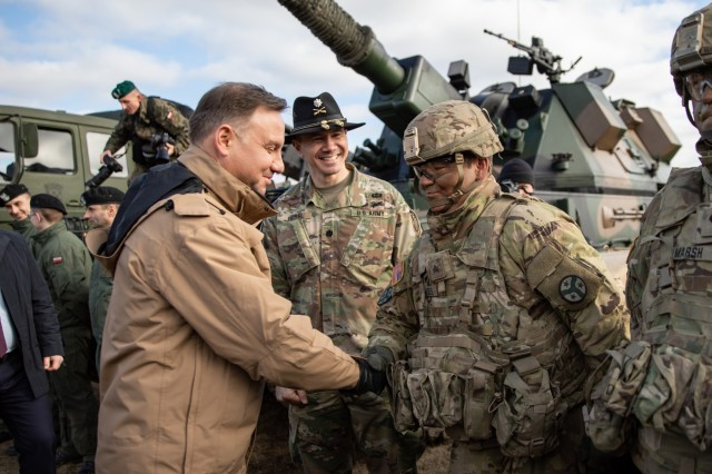 Poland's President Andrzej Duda meets with Soldiers assigned to Tennessee Army National Guard's 2nd Squadron, 278th Armored Cavalry Regiment's Task Force Raider, during a visit he made to Bemowo Piskie Training Area, Poland, March 6. Task Force Raider is currently assigned to BGPol, a unique, multinational coalition of U.S., U.K., Croatian and Romanian Soldiers who serve with the Polish 15th Mechanized Brigade as a deterrence in support of NATO's Enhanced Forward Presence.
