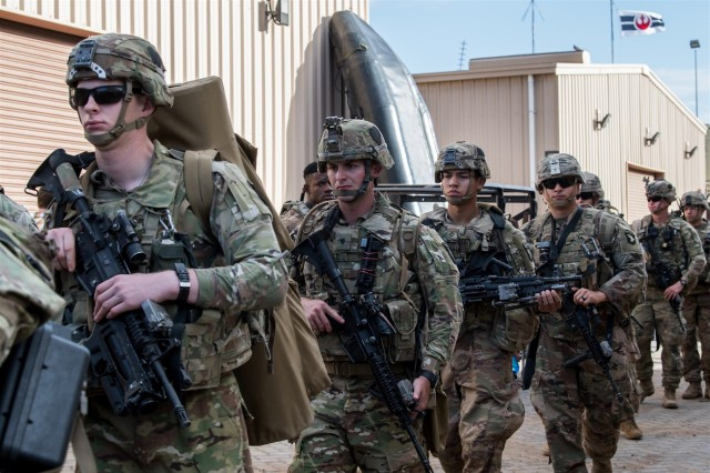 U.S. Soldiers assigned to the East Africa Response Force (EARF), deployed in support of Combined Joint Task Force-Horn of Africa, prepare to depart for Libreville, Gabon, at Camp Lemonnier, Djibouti, Jan. 2, 2019. The EARF provides a broad range of rapidly deployable military capabilities to protect American interests on the African continent should any threat arise.