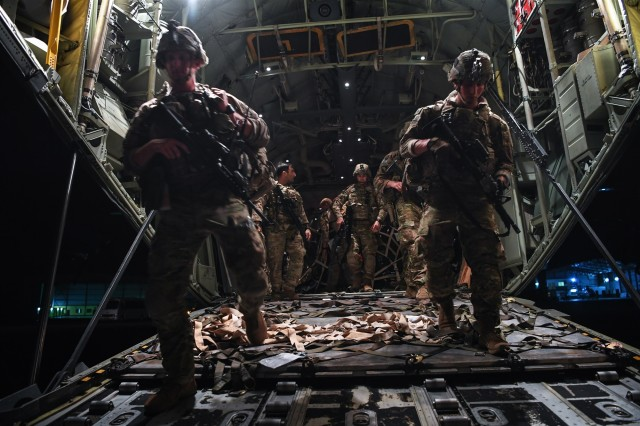 U.S. Army 1st Lt. Conor Keenan, left, and Pfc. Noberto Bernard, both assigned to the East Africa Response Force (EARF), deployed in support of Combined Joint Task Force-Horn of Africa, disembark a C-130J Hercules in Libreville, Gabon, Jan. 2, 2019. The EARF provides a broad range of rapidly deployable military capabilities to protect American interests on the African continent should any threat arise.