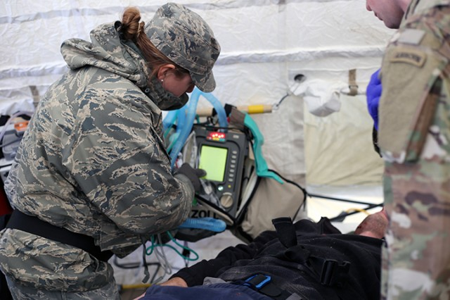 Medical personnel attached to the Homeland Response Force attend to the role players simulated injuries and illnesses during Idaho Response 19. Medical personnel trained on how to respond to patients that were either exposed or not exposed to a toxic chemical.