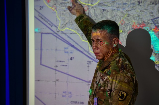 Washington Air National Guard Brig. Gen. Jeremy Horn discusses operations during Exercise Bersama Warrior, March 9, 2019 at the Malaysian Armed Forces headquarters in Kuala Lumpur, Malaysia. Bersama Warrior is a joint bilateral exercise between the Malaysian Armed Forces and the United States Army Pacific (USARPAC). The exercise focused on planning and conducting joint and coalition peace enforcement operations and was held in Kuala Lumpur from March 7-15, 2019. (U.S. Army National Guard photo by Sgt. 1st Class Jason Kriess)
