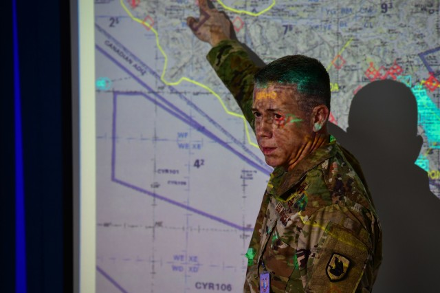 Washington Air National Guard Brig. Gen. Jeremy Horn discusses operations during Exercise Bersama Warrior, March 9, 2019, at the Malaysian Armed Forces headquarters in Kuala Lumpur, Malaysia. Bersama Warrior is a joint bilateral exercise between the Malaysian Armed Forces and the United States Army Pacific (USARPAC). The exercise focused on planning and conducting joint and coalition peace enforcement operations and was held in Kuala Lumpur from March 7-15, 2019.