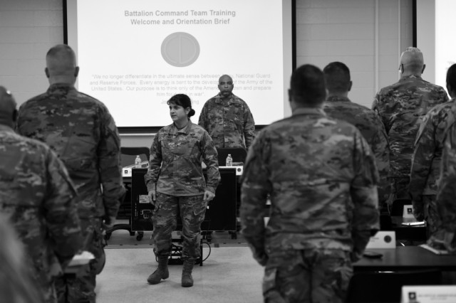 Brig. Gen. Kris Belanger, Commanding General, 85th Support Command, opens up the 85th U.S. Army Reserve Support Command's Battalion Commanders Huddle reciting the Soldier's Creed with her battalion command teams, March 8-10, 2019. The purpose of the briefing was to understand the 85th USARSC commanding general's, vision statement of Enhancing Lethality with Superior Service, Proactive Support and World Class Trainers, while creating a shared understanding of the command relationship, where they are as an organization, and where the command is heading. The organization shares in a multi-component partnership with First Army, supporting observer coach/trainer support to ensure readiness of deploying forces. Command teams additionally were able to receive a demonstration of the Army Combat Fitness Test during the briefing, the soon-to-be standard for Soldier fitness.