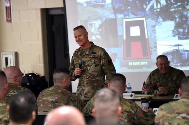 Army Lt. Gen. Thomas James Jr, Commanding General, First Army, discusses the importance of readiness with battalion command teams who gathered in Arlington Heights, Illinois for a three-day briefing, hosted by the 85th U.S. Army Reserve Support Command, Mar. 8-10, 2019. The purpose of the briefing was to understand the 85th USARSC commanding general, Brig. Gen. Kris Belanger's, vision statement of Enhancing Lethality with Superior Service, Proactive Support and World Class Trainers, while creating a shared understanding of the command relationship, where they are as an organization, and where the command is heading. The organization shares in a multi-component partnership with First Army, supporting observer coach/trainer support to ensure readiness of deploying forces. Command teams additionally were able to receive a demonstration of the Army Combat Fitness Test, the soon-to-be standard for Soldier fitness.