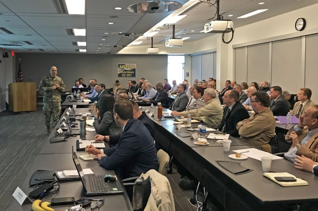 Program Executive Officer for Command, Control and Communications-Tactical (PEO C3T), Maj. Gen. David Bassett, speaks to industry attendees during the Joint Tactical Networking Center (JTNC) Industry Day in Aberdeen, Maryland.