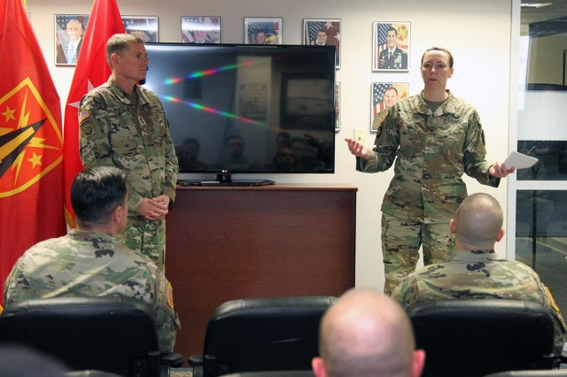 Col. Maureen Kohn, Fires Center of Excellence and Fort Sill Staff Judge Advocate, speaks about the numerous accomplishments of the Legal Assistance Office in 2017, which led them to winning the Army Chief of Staff Award for Excellence in Legal Assistance for 2017.