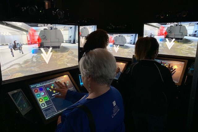 The most popular exhibit, the STEM mobile exhibit, includes a computer scenario where students work as teams, using a rescue robot called SARAH (Search and Rescue Autonomous Hybrid) to free trapped factory workers during a mock environmental catastrophe.