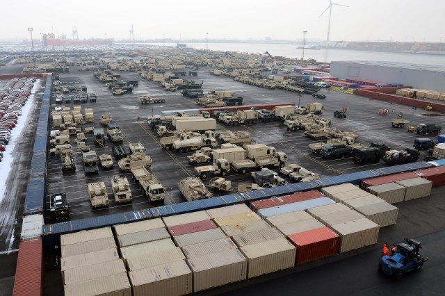 Vehicles from the 1st Armored Brigade Combat Team, 1st Infantry Division, fill the holding yard in Antwerp, Belgium, on Jan. 23, 2019, in preparation for Atlantic Resolve.