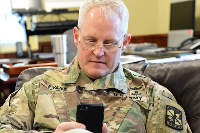 Maj. Gen. John Evans Jr., commanding general of U.S. Army Cadet Command and Fort Knox, tweets about a meeting with a garrison public affairs specialist, March 19, 2019. Evans said the pros of engaging with cadets in the virtual world outweigh the cons.