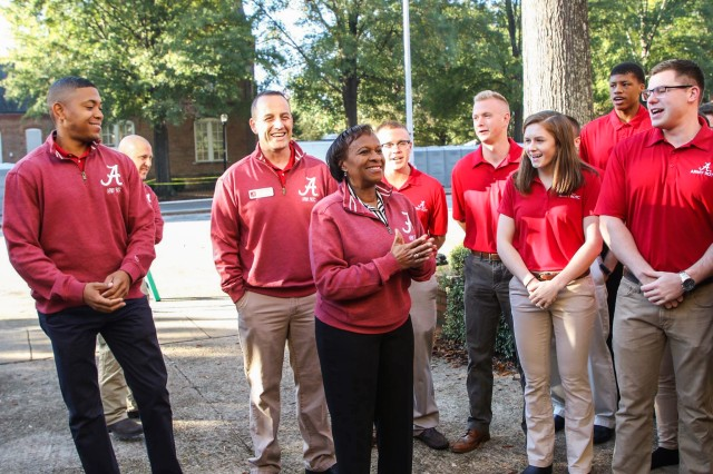 Lt. Gen. Gwen Bingham, center, talks with Reserve Officers' Training Corps cadets at the University of Alabama in November 2018. Bingham is a 1981 graduate from the University of Alabama and received her commission through the university's ROTC program.