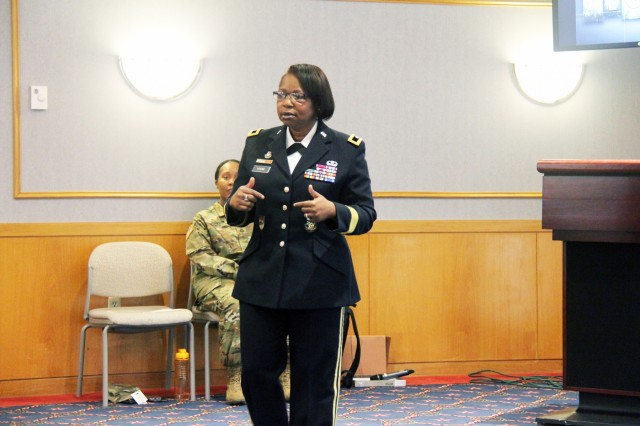 "Brig. Gen. Twanda Young, deputy commanding general for the U.S. Army Human Resources Command, speaks to Fort McCoy, Wis., community members at the Women's History Month observance March 14, 2019, at McCoy's Community Center. The theme of the speech was ""empowered women empower women."" (U.S. Army Photo by Aimee Malone, Public Affairs Office, Fort McCoy, Wis.)"