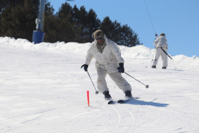 Students in Fort McCoy Cold-Weather Operations Course (CWOC) Class 19-06 practice skiing March 11, 2019, at Whitetail Ridge Ski Area at Fort McCoy, Wis. In addition to skiing, CWOC students are trained on a variety of cold-weather subjects, including snowshoe training as well as how to use ahkio sleds and other gear. Training also focuses on terrain and weather analysis, risk management, cold-weather clothing, developing winter fighting positions in the field, camouflage and concealment, and numerous other areas that are important to know in order to survive and operate in a cold-weather environment. The training is coordinated through the Directorate of Plans, Training, Mobilization and Security at Fort McCoy. (U.S. Army Photo by Scott T. Sturkol, Public Affairs Office, Fort McCoy, Wis.)