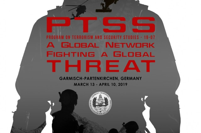 GARMISCH-PARTENKIRCHEN, Germany (March 13, 2019) - The Marshall Center is hosting the Program on Terrorism and Security Studies 19-07 from March 13 to April 10. In this class, there are 63 participants from 47 countries. The Program on Terrorism and Security Studies is a four-week resident program that supports the Marshall Center's increasing emphasis on transnational threats and challenges. The PTSS provides advanced professional education to those charged with understanding and then reducing the scope and capability of terrorism threats. (DOD graphic by M. Zachary Sherman/RELEASED)