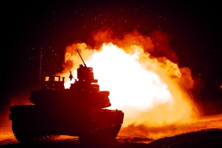 The 116th Cavalry Regiment conducts platoon live-fire gunnery qualifications, Feb.14, 2019, at the Orchard Combat Training Center, Boise, Idaho. The Idaho Army National Guard Soldiers are preparing for the 116th Cavalry Brigade Combat Team's upcoming rotation at the National Training Center, Fort Irwin, Calif., later this year.
