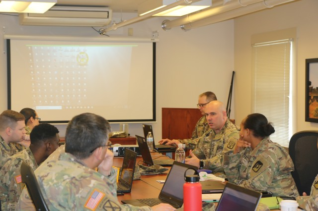 Master Sgt. William P. Cunningham, the 593rd Expeditionary Sustainment Command retention operations noncommissioned officer, conducts training all the career counselors in 593rd ESC on a monthly basis in order to increase the efficiency of the retention program. The purpose of the most recent training was to increase the career counselors' knowledge of databases used for the retention mission.