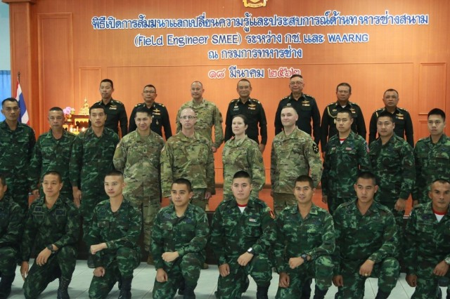 Attendees of the 2nd US-Thai Army Field Engineer Subject Matter Expert Exchange, pose for a group photo, following the opening ceremony.  Lt. Gen. Anusorn Punyaboon, commanding general, Royal Thai Army Engineer Department, provided opening remarks to approximately 19 Company grade Royal Thai Army (RTA) Engineer leaders from all over Thailand, senior leaders from the RTA Engineers, a team of Washington Army National Guard (WAARNG) Combat Engineers, and a U.S. Army Pacific/U.S. Army Corps of Engineers representative.